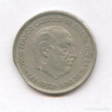 Monedas con errores: * ERROR * 25 PESETAS 1957*70 FINAL DE RIEL. Lote 99778332