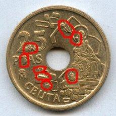 Monedas con errores: * SUPER-ERROR * 8 EXCESOS DE METAL DIFERENTES EN LA MISMA MONEDA DE 25 PTAS AÑO 1998... Lote 221835615