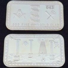 Monedas con errores: LINGOTE HERMANDAD MASÓNICA CON SÍMBOLOS MASONES EN RELIEVE. Lote 109414030