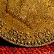 Monedas con errores: UNA PESETA DE 1963 *66: ERRORES POR LÍNEAS DE MATERIAL EN EL ANVERSO (REF. 442). Lote 107813375