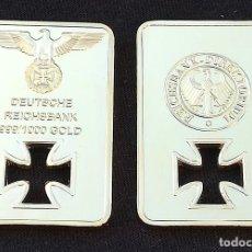Monedas con errores: LINGOTE DEUSTSCHE REICH GOLD CHAPADO EN ORO . Lote 109201663