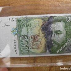 Monedas con errores: RARO BILLETE 1000 MIL PESETAS ANULADO PROTEGIDO EN METACRILATO. Lote 109188807