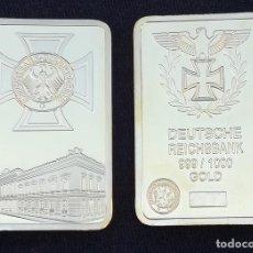 Monedas con errores: LINGOTE DEUSTSCHE REICH GOLD CHAPADO EN ORO . Lote 109201843