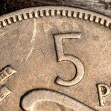 Monedas con errores: CINCO PESETAS 1957*66: AÑO 1961 MARCADO AL REVÉS EN EL REVERSO Y SEÑALES DE OTRA GRÁFILA (REF. 473). Lote 109954831