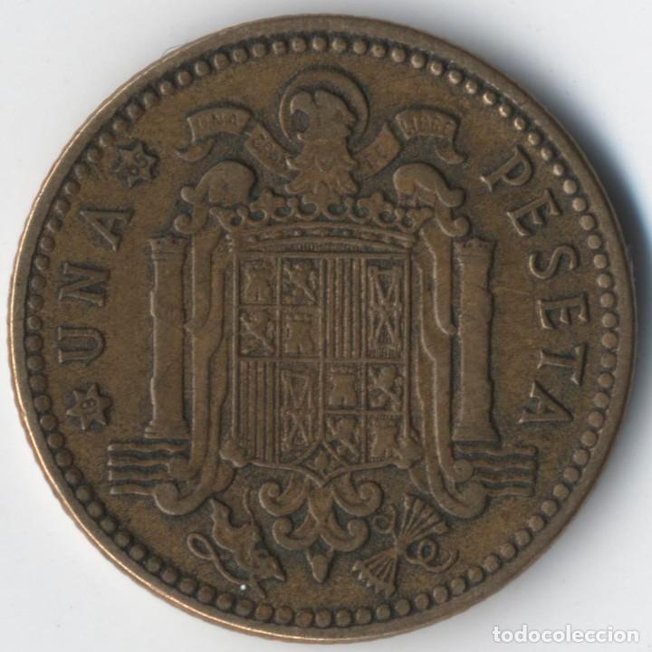 Monedas con errores: ESTADO ESPAÑOL- FRANCO - 1 PESETA 1963*19*65- 3,52 GRMS. INCUSA DETALLES DEL REVERSO EN ANVERSO - Foto 3 - 110217163