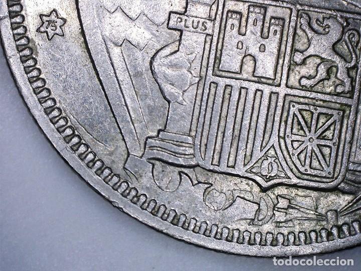 ERROR 5 PESETAS 1957*75 INCUSA-ALA INCOMPLETA SC/SC- (Numismática - España Modernas y Contemporáneas - Variedades y Errores)