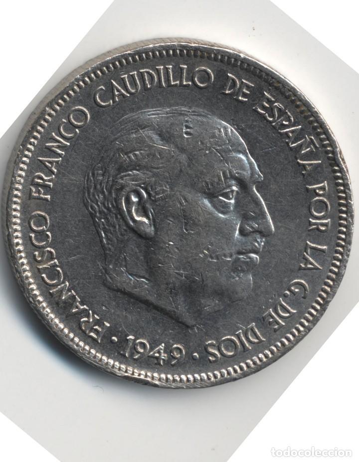 Monedas con errores: ERROR- FRANCO 5 PESETAS 1949*49 SC PROFUSIÓN DE MARCAS INCUSAS EN ANVESO MÁS LEVES EN - Foto 6 - 111787187