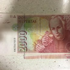 Monedas con errores: BILLETE 2000 PESETAS CON DOBLE ERROR DE IMPRESIÓN. Lote 112401387