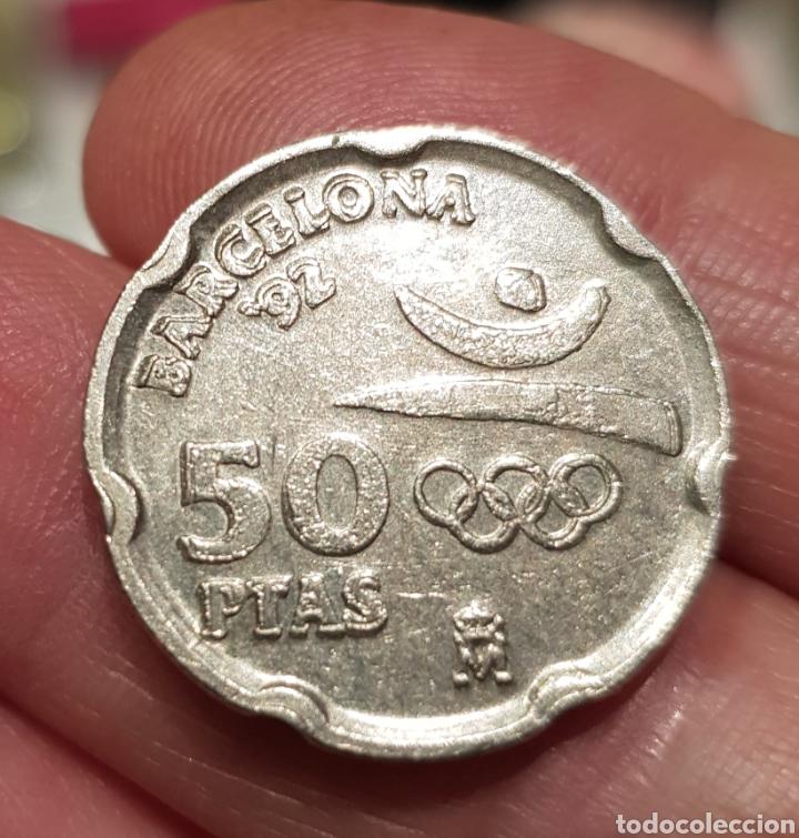 Monedas con errores: Moneda 50 pesetas BARCELONA 92 remarcada - Foto 2 - 114030743