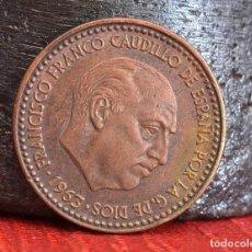Monedas con errores: UNA PESETA DE 1963*65: ERROR POR EXCESO DE COBRE EN EL COSPEL DEL ANVERSO (REF. 619). Lote 125203875
