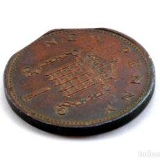 Monedas con errores: NEW PENNY DE 1971 CON DOS SEGMENTACIONES RECTAS (REF. 647). Lote 128019075