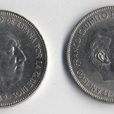 Monedas con errores: ESPAÑA ESTADO ESPAÑOL 2 MONEDAS 5 PESETAS 1949 *51 *52 ¡¡¡ TRUNCADAS!!! SC. Lote 128087955