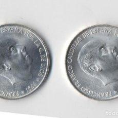 Monedas con errores: ESPAÑA ESTADO ESPAÑOL 2 MONEDAS 100 PESETAS 1966 *69 PALO RECTO Y PALO CURVO ¡¡¡ TRUNCADAS!!! SC. Lote 128088555