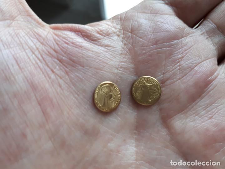 LOTE DOS MONEDITAS ORO 22 KTES. HGE. MEXICO Y EEUU. (Numismática - España Modernas y Contemporáneas - Variedades y Errores)