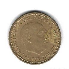 Monedas con errores: MONEDA. 1 PESETA. FRANCISCO FRANCO. 1963. ESTRELLA 65. ERROR: ROTURA CUÑO REVERSO. VER. Lote 135191642