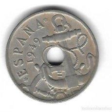 Monedas con errores: MONEDA. 50 CENTIMOS. 1949. ESPAÑA. ESTRELLA 53. ERROR: PERFORACION DESPLAZADA. VER. Lote 135204910
