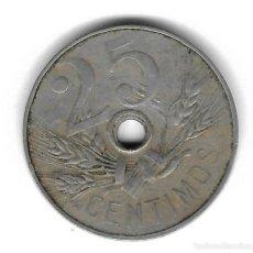 Monedas con errores: MONEDA. 25 CENTIMOS. 1927. ESPAÑA. ERROR: AGUJERO MAS PEQUEÑO. VER. Lote 135211838