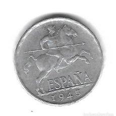 Monedas con errores: MONEDA. 5 CENTIMOS. 1945. ESPAÑA. ERROR: REPINTES EN REVERSO (JUNTO CABEZA AGUILA). VER. Lote 135212550