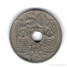 Monedas con errores: MONEDA. 50 CENTIMOS. 1949. ESPAÑA. ESTRELLA 51. ERROR: PERFORACION LIGERAMENTE DESPLAZADA. VER. Lote 135214786