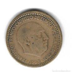 Monedas con errores: MONEDA. 1 PESETA. 1963. FRANCISCO FRANCO. ESTRELLA 67. ERROR: PESA + 0.3 GR Y CANTO AVIROLADO. VER. Lote 135215462