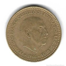 Monedas con errores: MONEDA. 1 PESETA. 1966. FRANCISCO FRANCO. ESTRELLA 75. ERROR: REPINTES (SOBRE AGUILA). VER. Lote 135216926