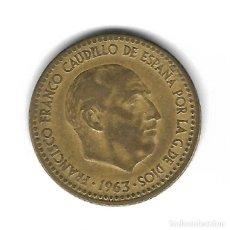 Monedas con errores: MONEDA. 1 PESETA. 1963. FRANCISCO FRANCO. ESTRELLA 64. ERROR: PARTE CANTO LISO. VER. Lote 135287126