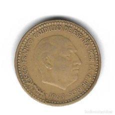 Monedas con errores: MONEDA. 1 PESETA. 1963. FRANCISCO FRANCO. ESTRELLA 64. ERROR: ROTURA CUÑO FRANCISCO. VER. Lote 135287178