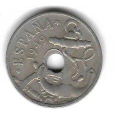 Monedas con errores: MONEDA. 50 CENTIMOS. 1949. ESPAÑA. ESTRELLA 51. ERROR: PERFORACION DESPLAZADA. VER. Lote 135291218