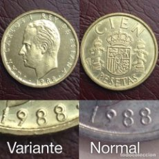 Monedas con errores: NUMISMATICA BILBAO 100 PESETAS 1988 VARIANTE ERROR BUSTO GRANDE + FECHA PEGADA AL CANTO SC. Lote 137482426