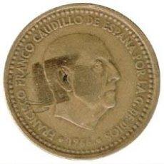 Monedas con errores: 1 PESETA 1966 * 67 CANTO DE CORONA MBC-. Lote 138805126