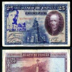 Monedas con errores: 25 PESETAS DE 1928 SELLO FRANQUISTA SALUDO A FRANCO ¡ARRIBA ESPAÑA! Y BUSTO DE FRANCO VIOLETA. Lote 139705678