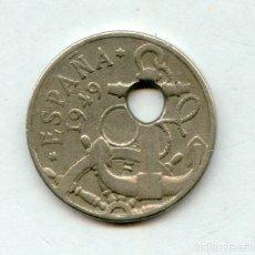 Monedas con errores: * ERROR * ESPECTACULAR. TALADRO MUY DESPLAZADO. 50 CENTIMOS 1949*51. PRECIOSA. Lote 141486760