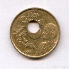 Monedas con errores: * ERROR * BONITO Y ESCASO. TALADRO CENTRAL MUY DESPLAZADO. 25 PESETAS AÑO 1990. Lote 144921837