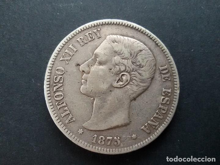 MONEDA DE PLATA ALFONSO XII DE 1875 CON ERROR EN EL PABELLON AUDITIVO ( RARA) (Numismática - España Modernas y Contemporáneas - Variedades y Errores)