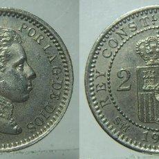 Monnaies avec erreurs: MONEDA DE ALFONSO XIII 2 CENTIMOS DE 1904 *04 PLATEADO VARIANTE?. Lote 197186278