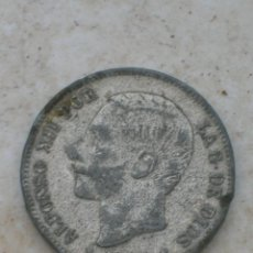 Coins with Errors - Moneda de Alfonso XII. 5 pesetas.Año 1883. Falsa de época fabricada en plomo. - 153125114