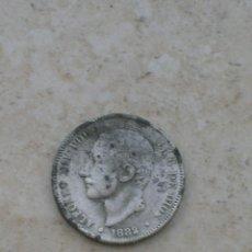 Monedas con errores: MONEDA DE ALFONSO XII. 2 PESETAS.AÑO 1882.FALSA DE ÉPOCA.FABRICADA EN PLOMO.. Lote 153125810