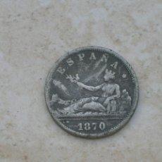 Monedas con errores: MONEDA DE ESPAÑA.GOBIERNO PROVICIONAL.2 PESETAS 1870. FALSA DE ÉPOCA.FABRICADA EN PLOMO.. Lote 153127778
