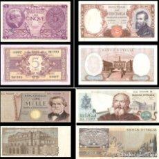 Monedas con errores: LOTE DE 4 BILLETES DE LIRA ITALINA CON ERRORES - MUY BUENAS CONDICIÓNES. Lote 154476194