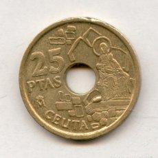 Coins with Errors - * ERROR * RARO Y MUY ESCASO. 25 PESETAS AÑO 1998 CON EXCESO DE MATERIAL DENOMINADO OFRENDA DERECHA - 53668949