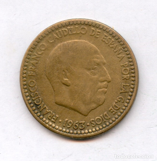 Monedas con errores: * ERROR MUY ESCASO * 1 PTA 1963-63 CUÑO PREDESCANTILLADO Y CUÑO PARTIDO - Foto 3 - 158383125
