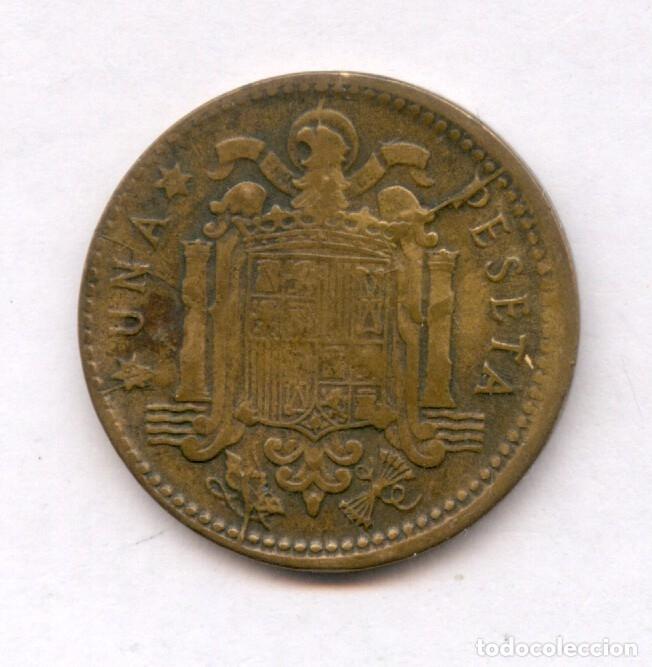 Monedas con errores: * ERROR MUY ESCASO * 1 PESETA 1953-56 CUÑO PARTIDO VARIOS Y ANVERSO LIGERAMENTE DESPLAZADO - Foto 6 - 158387078