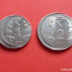 Monedas con errores: ## ERROR - PRECIOSAS MONEDAS DESPLAZADAS DE 1 Y 2 RUPIAS 2011 DE LA INDIA ##. Lote 172406607