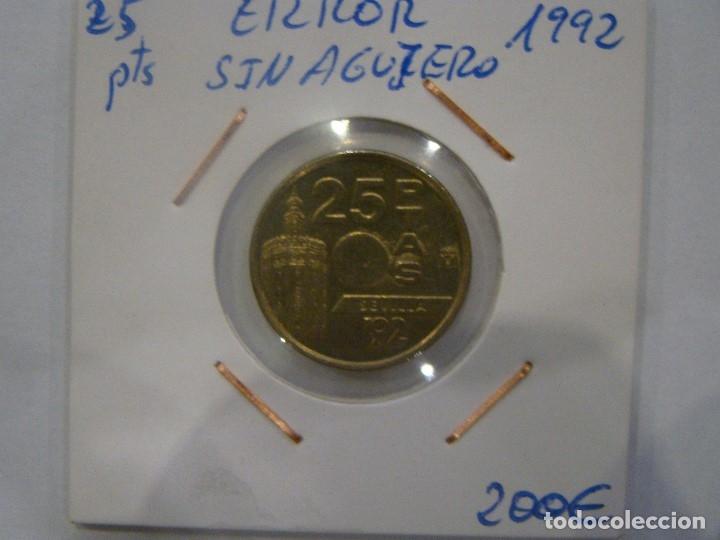 NUMISMÁTICA REQUEJO ERROR 25 PESETAS SIN AGUJERO 1992 (Numismática - España Modernas y Contemporáneas - Variedades y Errores)