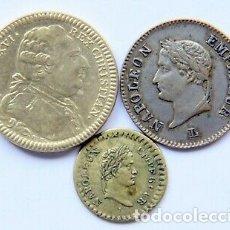 Monedas con errores: LOTE DE TRES JETONES MEDALLA NAPOLEON Y LUIS XVI.. Lote 177280868