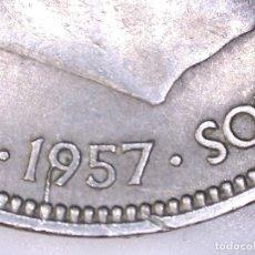 Monedas con errores: ESTADO ESPAÑOL FRANCO 50 PESETAS 1957*67 *ERROR* EXCESOS DE METAL - DOS ALAS - SC-. Lote 182352623