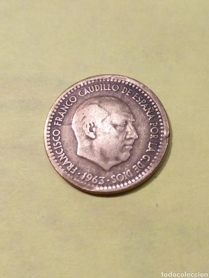 Monedas con errores: REPINTE Y desplazamiento . Una peseta 1963. EBC - Foto 2 - 186221836