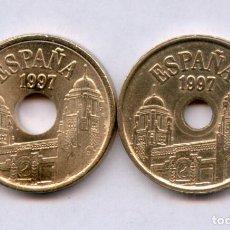 Monedas con errores: * ERROR * MUY RARA 25 PTAS 1997 TALADRO PEQUEÑO. Lote 189336878