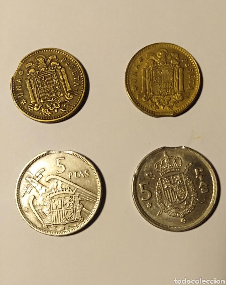 Monedas con errores: España, 4 monedas, final de riel, error de acuñación. - Foto 2 - 194102025