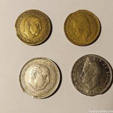 Monedas con errores: ESPAÑA, 4 MONEDAS, FINAL DE RIEL, ERROR DE ACUÑACIÓN.. Lote 194102025